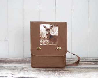 Oh, Deer - Messenger Bag - Woodland - Field Bag - School Bag - Java Brown - Canvas Bag