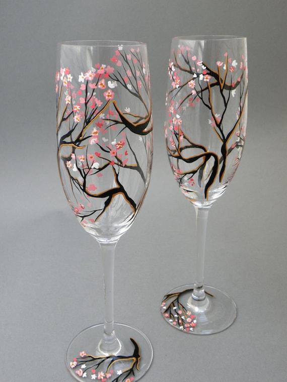 Hand Painted Wedding Glasses Personalized Flutes Sakura Tree