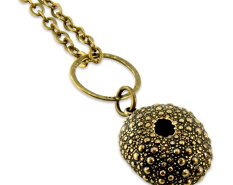 Sea Urchin Necklace Gold Bronze Pendant  - Ocean Animals - Gwen Delicious Jewelry Designs