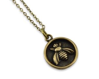 Honey Bee Wax Seal Necklace, Bronze Honey Bee Wax Seal Pendant  Honey Bee Jewelry,  Gwen Delicious Jewelry Designs