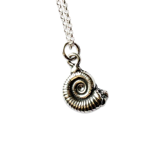Two for One Sale....Sterling Silver Ammonite Fossil Necklace