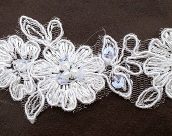 "Beaded lace, bridal lace, beaded trim in ivory or white, 1"" width"