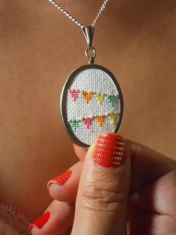 Flag Bunting Necklace to Celebrate Everyday - Cross-Stitch Pendant - MADE TO ORDER