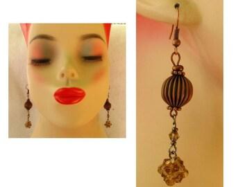Copper Dangle Beaded Earrings Handmade Jewelry Women Accessories