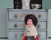 Vintage Welsh Doll 50s 60s National Costume Doll Wales 1950s 1960s Wool Flannel Clothing