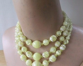 Vintage Triple Strand Necklace Choker Yellow with White Flowers Three Strands Retro Costume Jewelry