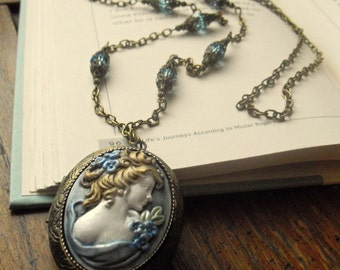 Madame Verbena Blue Antique brass locket Hand painted  Cameo with blue crystals Gift Box