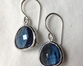 sapphire blue glass drop earrings ( in gold or silver )