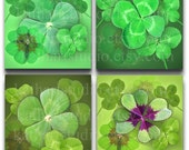 Buy 2 GET 1 FREE - Instant Download - Four Leaf Clover - Lucky Charms Collage Sheet 2 inch sq. for pendants, stickers, tiles, magnets. 332