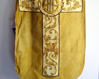 vintage 1950s CHASUBLE and vestment priest's robe, clergy gown heavily hand embroidered, 2 pieces