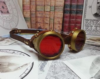 Steampunk Goggles Brass & Brown Leather - The Pilot , Dieselpunk, Adventurer, Time Traveller, Explorer, Airship, Kraken, Burning Man