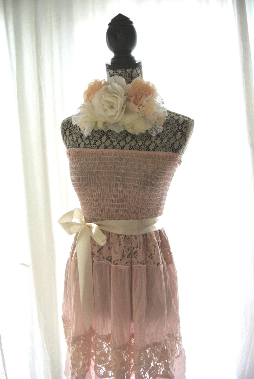 sundress romantic shabby blush dress country chic clothing