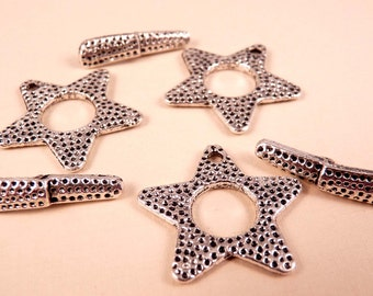 Silver Toggle Clasp Star Toggle Clasp Sets Silver Clasp Silver Findings