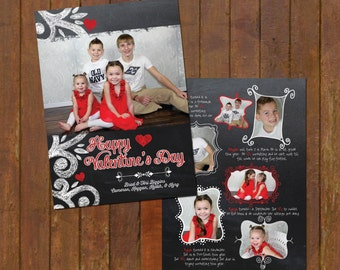 Chalkboard Valentines Day Photo Card -year in review - double sided