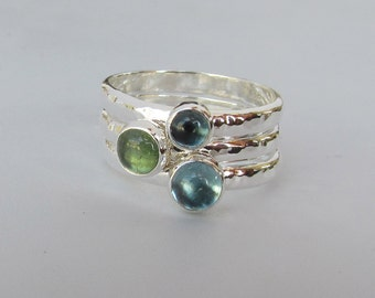 Sea Foam Green Tourmaline, London Blue Topaz and Swiss Blue Topaz, A Set Of Three Sterling Silver Stacking Rings