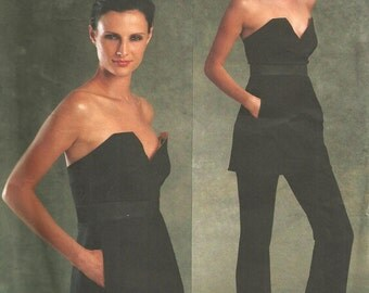 Designer Sewing Pattern By Donna Karan / Vogue 1076 / Corset Bustier Strapless Evening Blouse Pants / Sizes 4 6 8 10