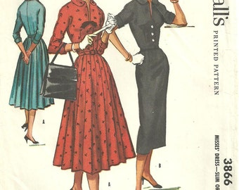 McCalls 3866 / Vintage 50s Sewing Pattern / Dress / Size 12 Bust 32