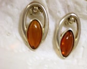 Marquise Amber or Faux Amber Earrings Sterling 925 Free Ship