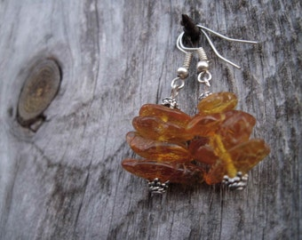 Unpolished Baltic Amber Earrings Dangle Honey Rough Stone Jewelry Raw Natural Eco Organic Sunny Zen