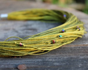 Multistrand Necklace / Green Beaded Necklace / Organic Linen Jewelry / Forest Moss Green / Zen Eco Style