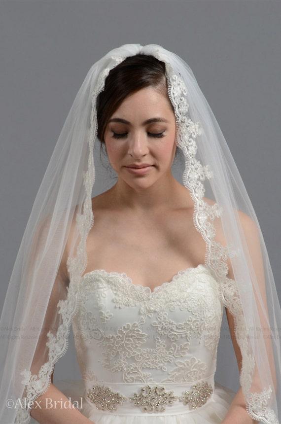 wedding veil, bridal veil, mantilla veil, elbow length veil, alencon lace veil, wedding veil ivory