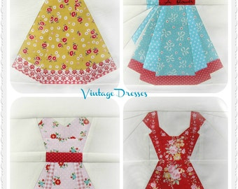 Vintage Dresses, a Paper Piecing Pattern