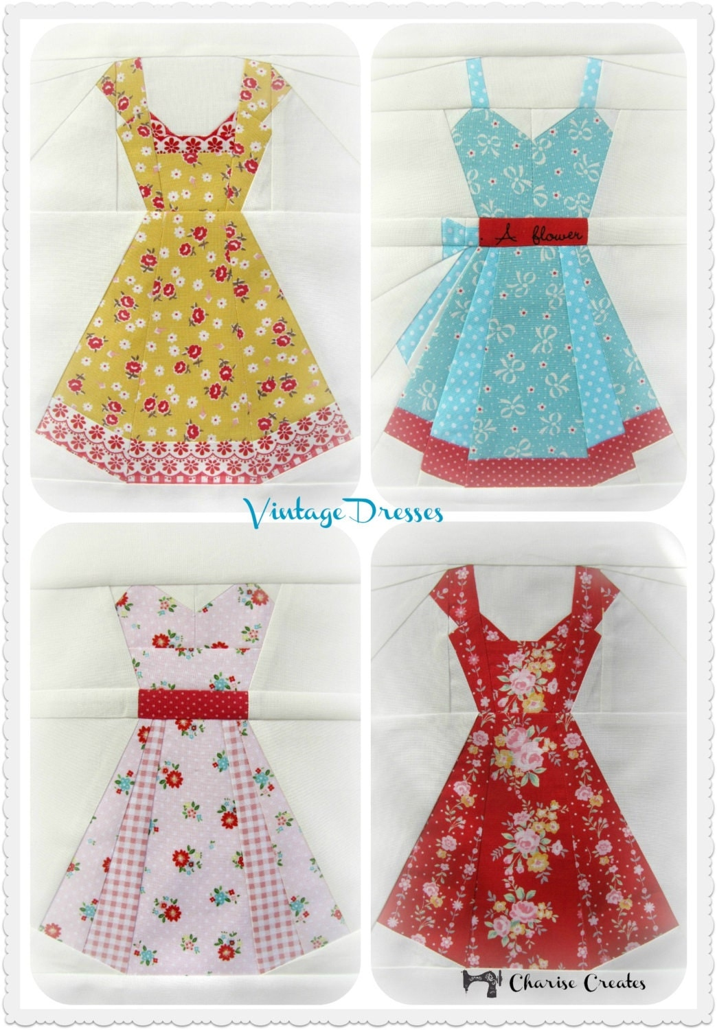 Vintage Dresses a Paper Piecing Pattern