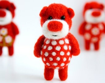 Red needle felted pocket pocket bear with white polka dots