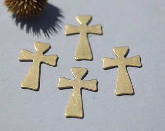 Bronze Blank Cross Religious 33mm x 22mm Cutout for Blanks Soldering Stamping Texturing - 4 pieces