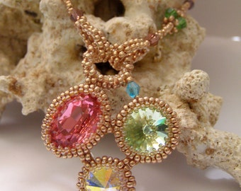 Beaded pendant with swarovski crystals OOAK