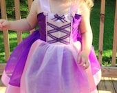 Rapunzel Costume: sparkle Purple lined tutu dress with Pink Trim & straps, Easy on and Off for Princess Trip, Birthday Party, adjustable