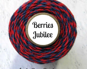 Red and Navy Blue Bakers Twine by Trendy Twine - Berries Jubilee