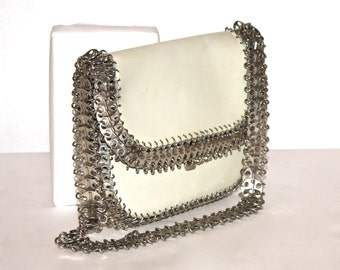 PACO RABANNE Vintage Handbag Silvertone Disk Chain Link Leather Tote - AUTHENTIC -