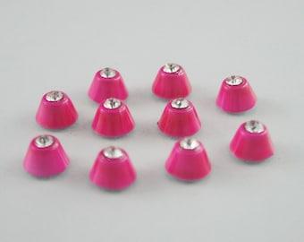 10 pcs. Zinc Shocking Pink Cone White Rhinostone Rivets Studs Decorations Findings 9 mm. C Rino9 CH