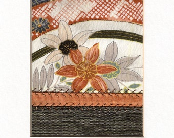 Floral Garden Mini Crazy Quilt Style Fabric Collage Vintage Silk Kimono Ready to Frame