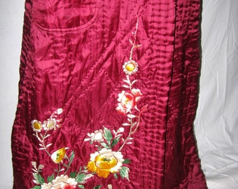 Antique robe, dressing gown, ruby red silk, RARE, hand quilted, hand embroidered, Japan, wearable luxury