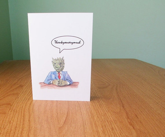 Dragon thank you card. A dragon in a suit, that is. Funny thank you card, for children or silly adults.