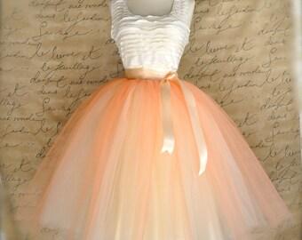 Women's tulle skirt in peach and cream. Peach over ivory lined tea length tutu skirt.