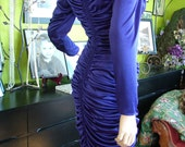Cobalt Blue sexy ruched vintage cocktail dress clubing disco dynasty dress