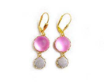 Pink Gold Dangle Earrings, Glass Polymer Clay Earrings Statement Earrings
