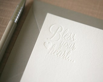 Letterpress Stationery - Bless Your Heart Southern Notecards