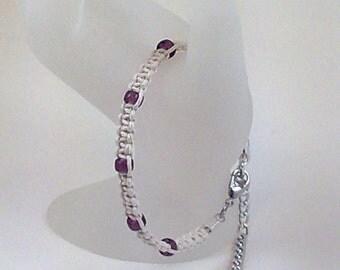 White Hemp Bracelet with Purple Czech Glass Beads and Amethyst Gemstone Cabochon