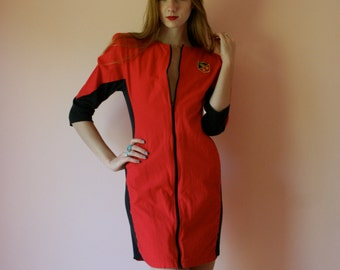 80s Dress Racetrack Spandex Panels Front Zip Tomato Red Mini Dress By EBER Size Small-Medium-Large sm med lg (0-2-4-6-8)