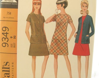 1960s McCalls 9349 Mini Dress and Jacket Vintage Sewing Pattern Bust 32