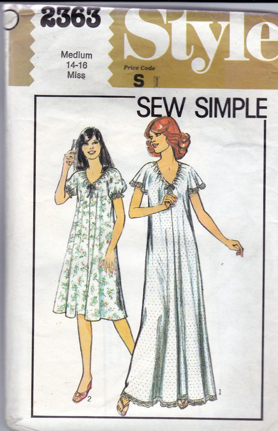 Easy Nightdress 80s Sewing Pattern Style 2363 Vintage Nightgown