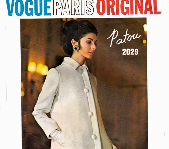 60s JEAN PATOU A Line Dress Maxi Dress & Coat Pattern Vogue Paris Original Sewing Pattern 2029 Size Size 10