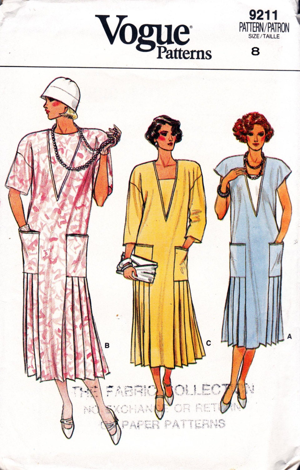 Flapper Style Dress Pattern with pleated skirt Vogue 9211