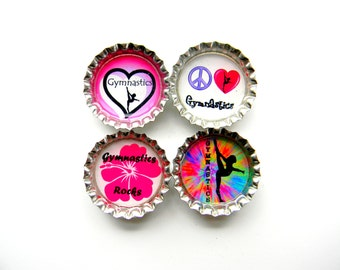 Gymnastics Resin Filled Bottle Cap Magnets Set of 4 in a Gift Tin