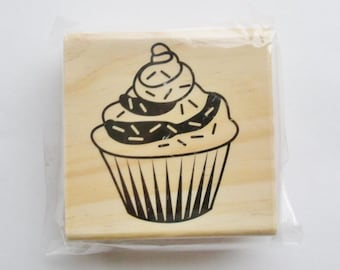 Frosted Cupcake Rubber Stamp NEW