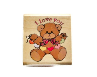 I Love You Bear Rubber Stamp by Rubber Stampede